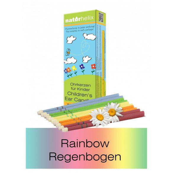 Naturhelix Kinder-Ohrkerzen in Regenbogen-Farben mit Kamillenöl, 10er-Packung