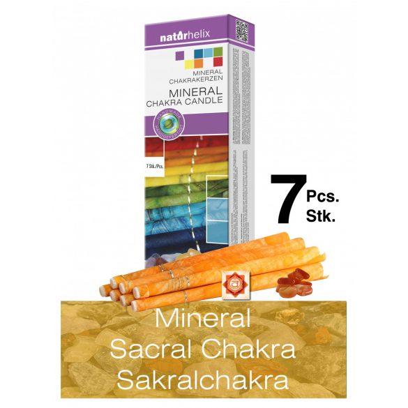 Naturhelix Mineral-Chakrakerzen - Sakralchakra/Orange/Karneol, 7er-Packung